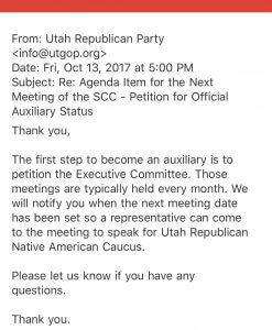 URNAC Official Auxiliary Petition to UTGOP, reply 1